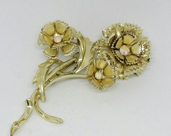 Vintage Rhinestone and Gold tone Carnation Brooch 1960s Flowers Stem Leaves