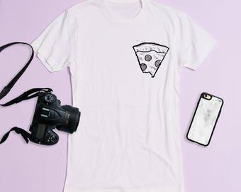 Free Shipping! Pizza Pocket Crewneck Tee, Graphic Tee, Triblend, Funny, Pizza Shirt, Basic Tee, T-Shirt, Workout Shirt, Gym Tee, men's tee