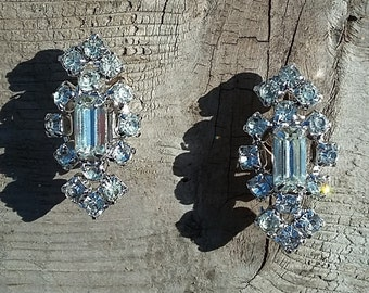 1920's Art Deco Rhinestone Earrings-Rhinestone Screw Back Earrings-Wedding Earrings-Gatsby Wedding-Vintage Bridal-Free Shipping