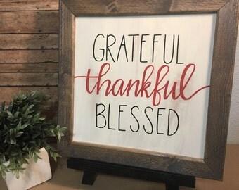 """Handlettered """"Grateful, Thankful, Blessed """" framed wood sign"""