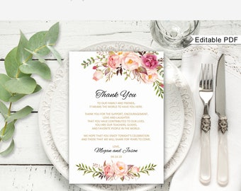 Floral Wedding Thank You Place Card, Wedding Table Thank You, Thank You Place Setting,  #A008, Editable PDF - you personalize at home.