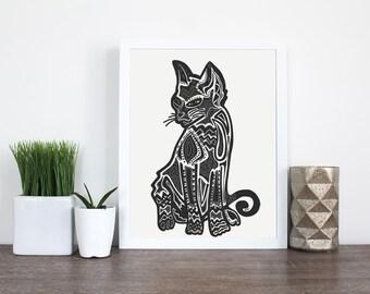 PRINTABLE- Black Cat Art - Cat Zentangle Print- Abstract Black Cat- Pet Portrait - Cat Portrait - Custom Cat Portrait- Digital Download