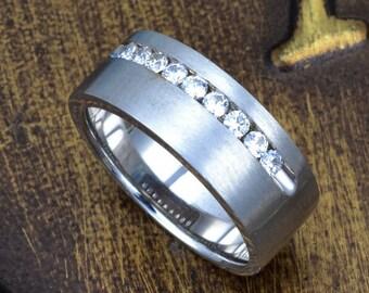White gold men wedding ring,wedding  diamond gold band, anniversary diamond band, gents diamond ring