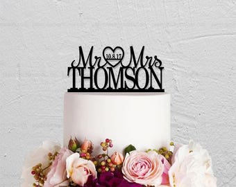 Mr And Mrs Cake Topper,Wedding Cake Topper,Wedding Decoration,Custom Cake Topper,Last Name And Date Cake Topper,Rustic Cake Topper