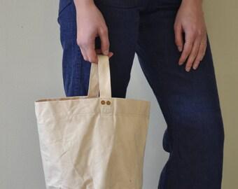 Vintage Canvas Bucket Bag with Single strap / Jane Birkin bag / Open Bucket bag/ Canvas Bag / Simple Canvas market bag
