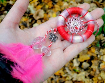 Cute pink dream catcher, Kawaii keychain, Car dreamcatcher, Bag charm, Lucky talisman, Butterfly good luck charm, Valentines gift for her