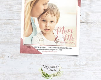 Mom and Me Minis, Rose Gold, Photoshop Template, Photography Marketing, Mother's Day Mini Sessions, Marketing Board, Instant Download