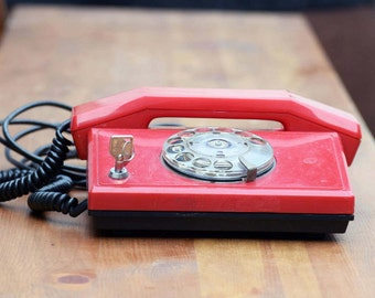 Vintage red phone, Red rotary phone, Dial phone from 90's, Old rotary telephone, Retro phone, Office decor