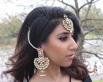 Kundan Pearl Headpiece Tikka Jewelry / Lightweight Kundan Earring & Headpiece Tikka Jewelry