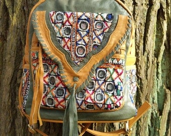 Leather Boho Backpack with embellished Vintage Jati Textiles