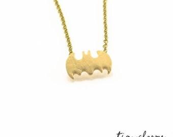 Batman Sign Necklace, Batman Pendant, Comic Book Necklace, Minimalist Necklace, Small Pendant Necklace, Dainty Necklace