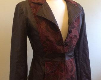 Vintage Burgundy Floral Tapestry Jacket