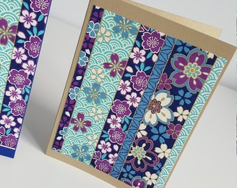 4 handmade Japanese floral cards, pack of 4 blank note cards, beautiful handmade paper, handmade stationery, blank note cards