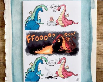 Funny Birthday Card, Birthday Card, Birthday Card Humor, Dragon, Cute Birthday Card
