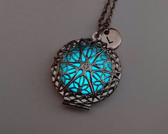 Glowing locket heart necklace wife gift valentines gift glowing locket heart necklace wife gift easter gift glow in the dark negle Images