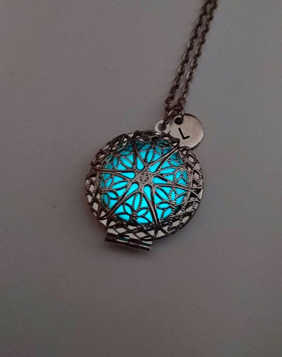 Glowing locket heart necklace wife gift easter gift glow like this item negle Images