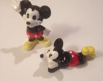 Disney Mickey Mouse, Vintage Pair of Ceramic Porcelain Figurines, Walt Disney Productions, UCGC Japan