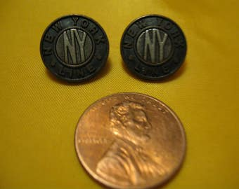 2  metal buttons 1990's. Stamped with letters NY and New York Line