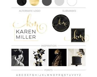 Branding Package, Premade Black Watercolor Logo Set, Black and Gold Logo, Branding Kit, Modern Photography Logo Feminine Logo Branding Board
