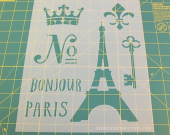 French Stencil - Reusable DIY Craft Stencils of the Eiffel Tower, French Words, Crown, and Fleur De Lis - Paris Stencil