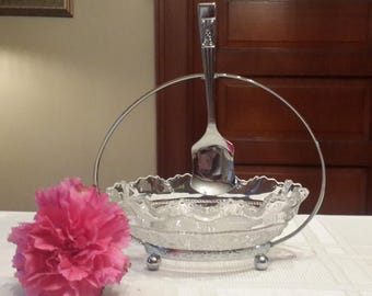 Sheffield England Bilchrome glass sugar dish and spoon set with holder