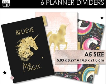 Planner Dividers A5 Size Unicorns Filofax Websters Pages Kikki K Large 6 Tabs Arc Inserts Gold Black Dreams Magic Download Pdf PRINTABLE