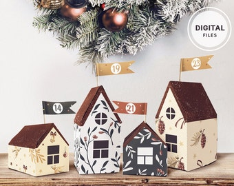 Printable Advent Calendar • Christmas Little Houses  • Countdown to Christmas • DIY Calendar • Christmas village • Instant download