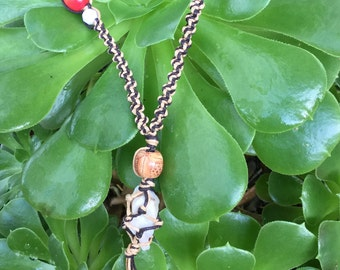 White Quartz handmade adjustable macrame necklace