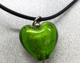 Vintage Green Heart Glass Pendant Necklace, Accessories, Boutique, Fashion Jewelry