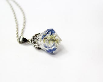 blue green necklace crystal jewelry moss necklace terrarium jewelry blue jewelry gifts for wife flower necklace resin necklace cute gift Р69