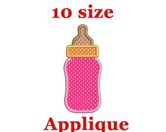 Baby Bottle Applique Embroidery Design. Baby Bottle Embroidery. Machine Embroidery Design.
