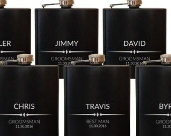 Personalized Flasks for Men - Engraved Groomsmen Gifts - Customized Flasks Gift Box - Black Stainless Steel Flasks - Wedding Flasks FLSK957