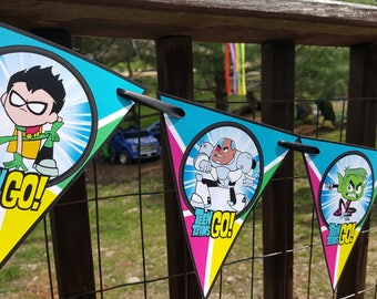 Teen Titans Go Birthday Banner - Personalized