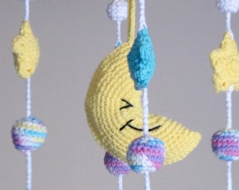 Crochet Moon Crib Mobile /  Stars Mobile / Crochet Mobile / Nursery Decor / Nursery Furniture