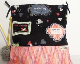 Knitted with Love bag,  Knitting Bag, Crochet Bag, Yarn Bag,  Project Bag, Sock knitting bag
