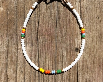tender Bohoarmband of seed beads, Beads Bracelet with seed beads, turquoise, white, yellow, red, gold, gold-plated