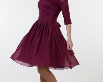 Short burgundy dress with sleeves Burgundy bridesmaid dress with sleeves Burgundy cocktail dress Burgundy party dress Burgundy lace dress