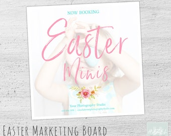 Easter Mini Session Template, Marketing Board, Photoshop Template for Photographers, Photography Marketing Board, Easter Mini Session