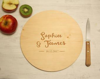Cadeau personnalisé, planche à découper ronde, bois gravé, personnalisable avec votre texte, décoration de cuisine, plateau de présentation