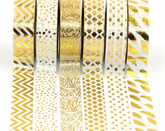Gold Foil Washi Tape 10m, planner supplies, white washi tape, scrabooking tape, journal planner accessories, cute stationery, pretty tape