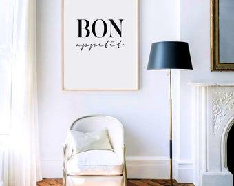 Bon Appetit Bon Appetit Sign Kitchen Decor Kitchen Art Kitchen Prints