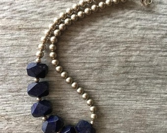 Lapis Lazuli Choker Necklace With Swarovski Pearls, For Women/ Gift For Her/ Wedding/ Valentine's Day