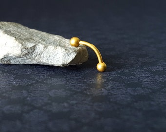 Matte Gold Curved Barbell (16G)