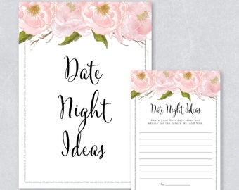 Date night ideas / Wedding cards / Blush watercolor floral / Silver Glitter / DIY Printable / INSTANT DOWNLOAD