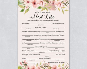 Bridal shower mad libs, Floral bridal shower game, bohemian watercolor, pastel cream color, hen party game, printable game, INSTANT DOWNLOAD