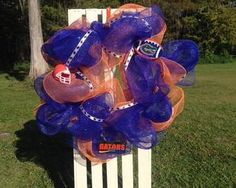 Florida Gators Wreath, FL Gators Decor, University of Florida, Go Gators Door, Orange and Blue, Deco Mesh Wreath, Football Wreath, Loveleigh