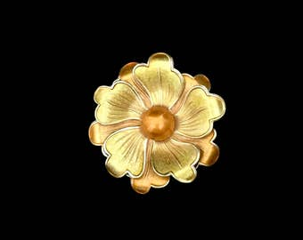 60's Tangerine and Gold Brooch     GJ2526
