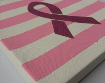 """8"""" x 8"""" pink stripes with pink cancer ribbon canvas art"""