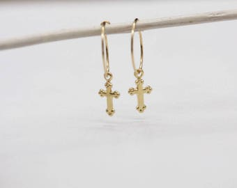 14 k gold plated cross earrings / earrings cross / cross earrings