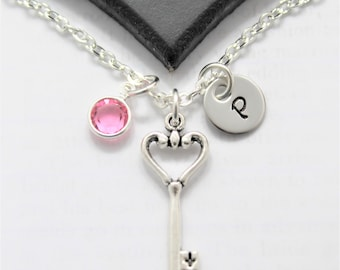 Heart and Key Necklace - Heart Key Necklace - Key To My Heart Necklace